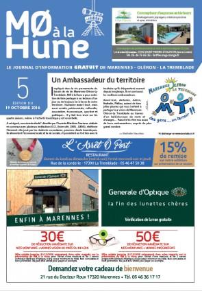 MO à la Hune n° 5, nouveau joirnal gratuit de Marennes Oléron La Tremblade, support de publicité