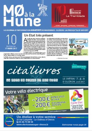 Journal gratuit MO à la Hune n° 10, publicité marennes Oléron presqu'île d'Arvert (Charente-maritime)